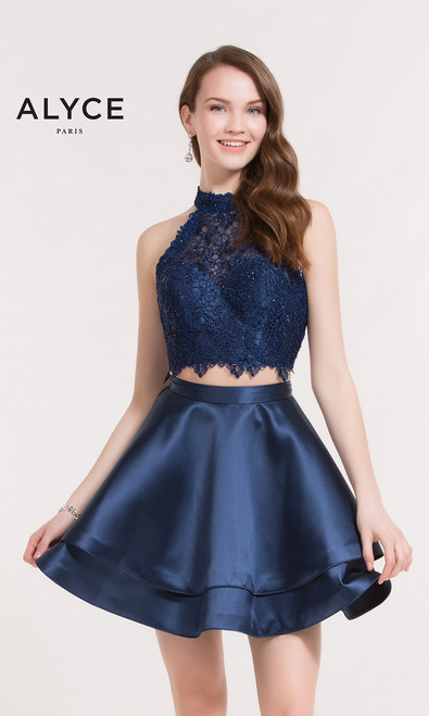 Two piece high neckline party and homecoming dress by Alyce Paris 3735 that features a sleeveless crop top with lace bodice and a matching mikado skirt- shop prom-avenue   Fabric:Lace, Mikado  Available in Black, Blush, White, Navy, Periwinkle,Wine