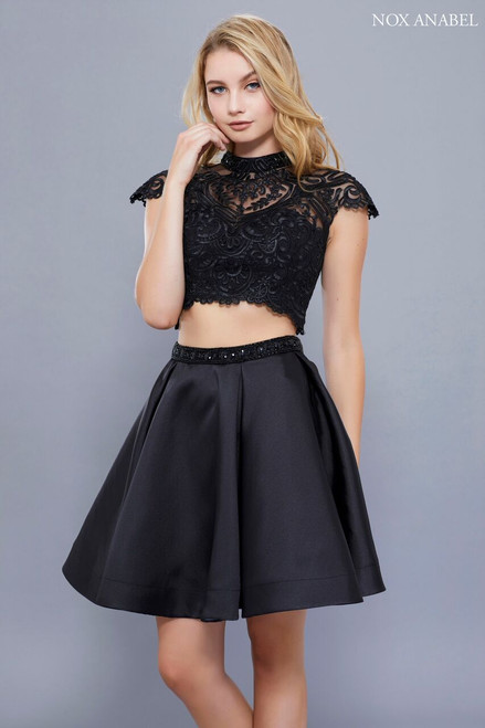 NX 6301,Dress it up with a sparkly earring, this little black dress style NX 6301 will bring your game on to the dance floor, featuring a two piece ensemble and a lace bodice - shop prom-avenue