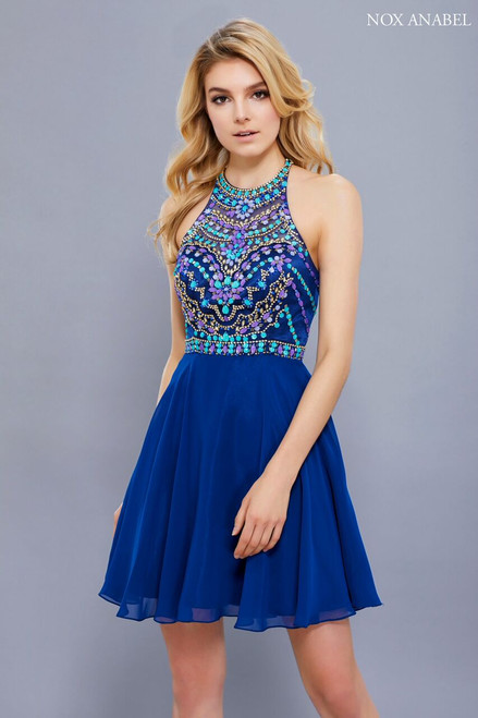 Dress to impress without having to bare it, this halter high neckline dress by NX 6238 is classy and elegant with beaded bodice and a short skirt - shop prom-avenue  Available in Navy and Aqua