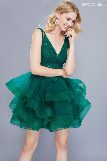 Catch everyone's attention as to enter into your special event in style NX 6310 featuring a green ruffled skirt and a green sleeveless lace bodice - shop prom-avenue  Available in Burgundy, Green, Navy Blue