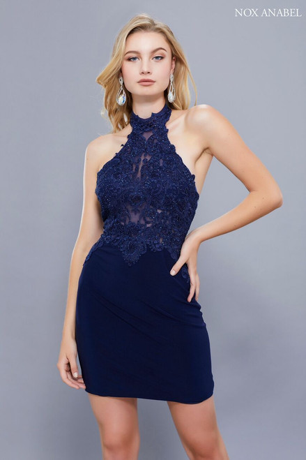 Sophisticated and curve hugging cocktail or party dress that stands out in style NX 6309 with lace bodice and fitting that will hug every curves - shop prom-avenue   Available in in Burgundy, Navy, Black