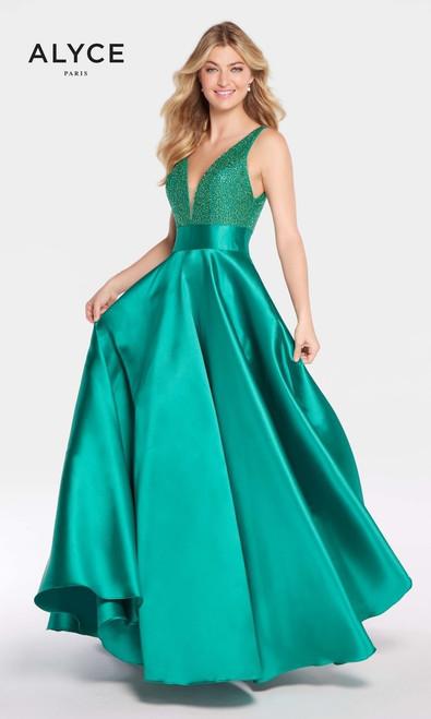 Alyce 60224, alyce paris 60224, emerald dress, claret dress, black-plum dress, long gown, deep V neckline, V neckline, ball gown, embellished bodice, pageant, prom, winter formals, pageant, formals ,sleeveless