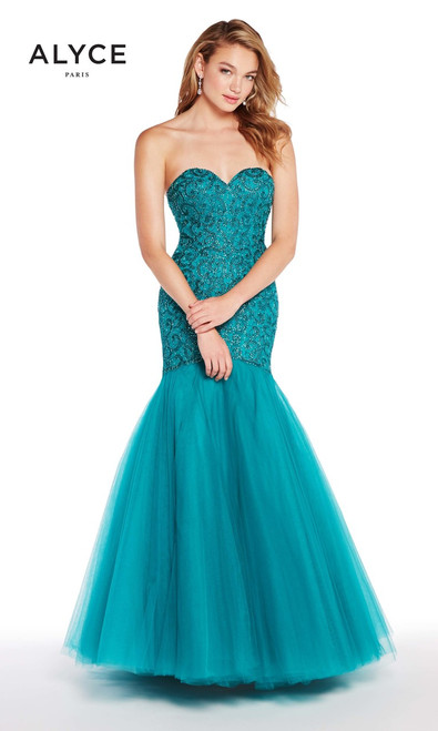 Alyce Paris 50229, 60229, black-plum, red, royal, teal, embellished body, prom dress, prom , formals, pageant, red carpet, black tie dress , lace, tulle, sweetheart neckline, romantic gown, mermaid gown, formals, lace up back, prom avenue