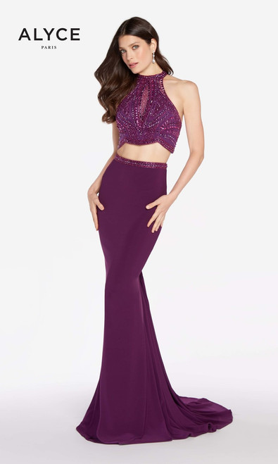 Alyce paris 60014, 60014, prom gown, prom dress, two piece , two piece prom dress, black-plum, eggplant, white, pine, red, sleeveless, open back, runway inspired, couture,, formals, military ball, prom dress, semi formals, crop top, halter neckline, sleeveless, sweetheart dance, w inter formals, jersey