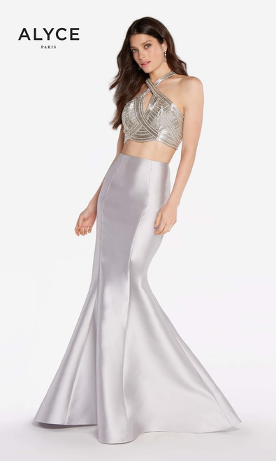 Alyce Paris 60216, prom 2018, spring 2018 prom collection, prom dress, prom gown, pageant, red carpet, sweet 16, formals, winter formals, military ball, runway inspired dress, halter neckline, sleeveless, mikado, mermaid, trumpet silhouette, pink, silver, halter top , keyhole back, sexy back