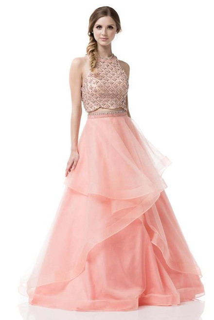 Bring a little romance with this ruffled skirt in two piece gown by AG-YD896 with alluring and intricate beading on the bodice - shop prom-avenue  Available in Peach