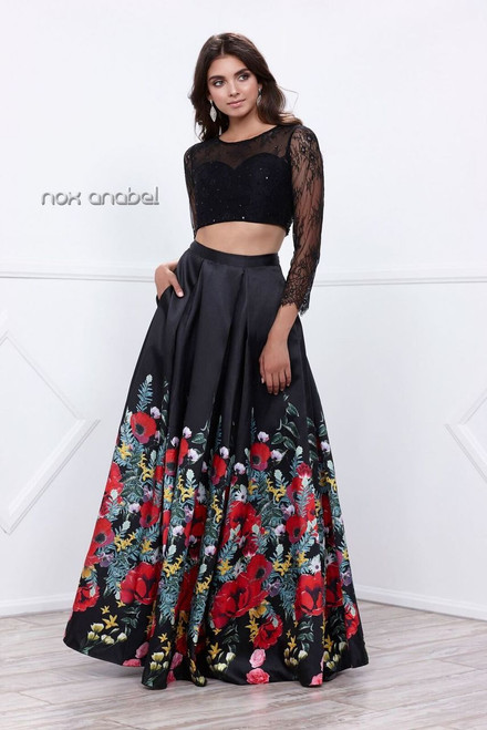 This two piece fun floral  prom dress NX-8371 is a dress is sure to make you stand out like Princess featuring an open back - shop prom-avenue  Color: Black-Floral