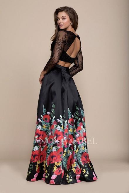 1cec375d39 ... Black-Floral Two Piece Floral Gown 8371