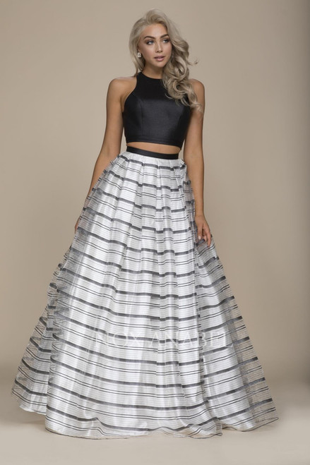 NA COO3, Statement dress with two piece high neckline bodice and a matching stripe skirt that elevates the drama on the big day - shop prom-avenue   Available in Black-Stripe as shown