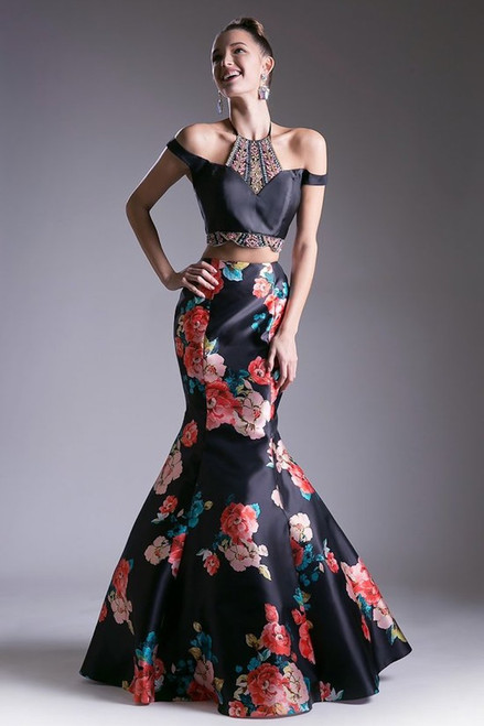 Chic and one of a kind two piece floral print dress with off the shoulder and sexy intricate beading with a matching mermaid skirt - shop prom-avenue   Available in Black-Floral Print as shown