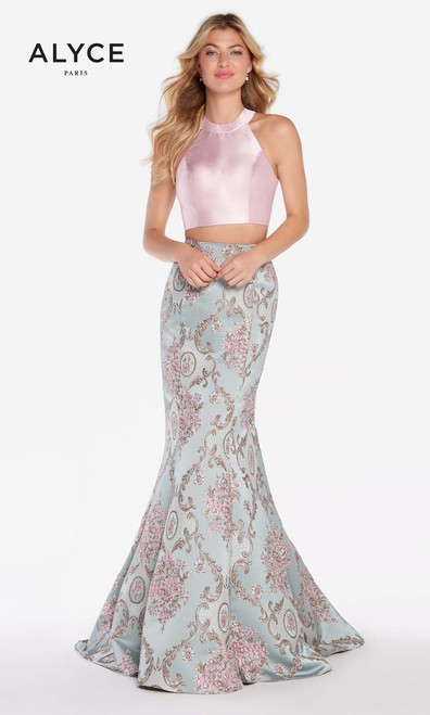Attention is on you with this striking sleeveless high neckline dress by Alyce Paris 60120 featuring a beautifully designer trumpet skirt and an open keyhole back - shop prom-avenue   Available in Blue, Ivory and Pink