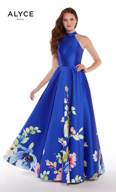 Alyce Paris 1309 Cobalt Print Dress