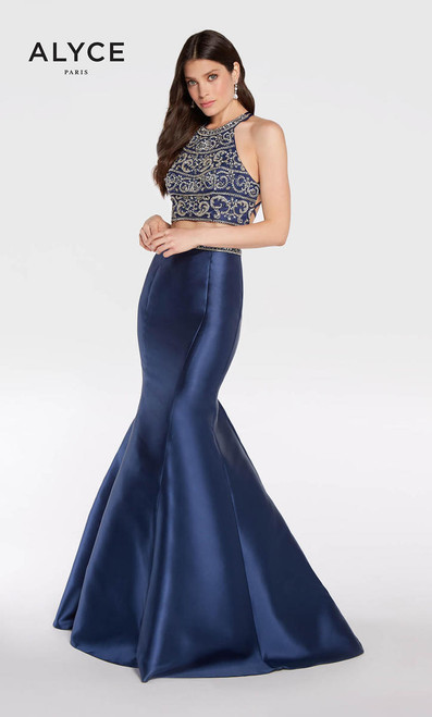 Alyce 1278, alyce paris 1278, 1278, AP1278,Figure flattering sleeveless high neckline dress from Alyce Paris 1278 exclusive collection with beaded bodice and a matching mermaid skirt - shop prom-avenue  Available in Black-Silver, Navy-Gold, Diamond White-Gold