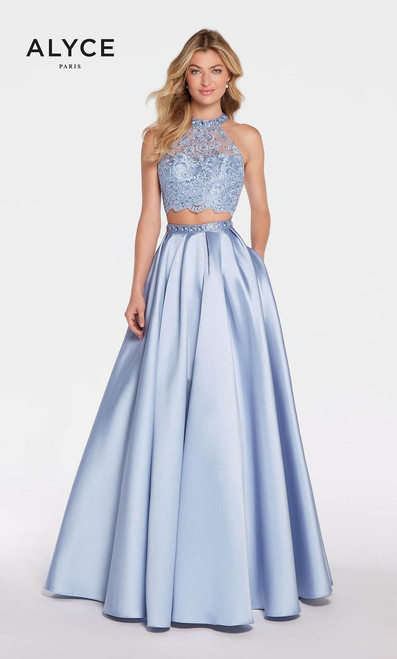 This two piece a-line dress from Alyce Paris 1312 features a beaded lace high neckline bodice and sexy cut out back with a matching skirt and pockets - shop prom-avenue   Available in Periwinkle, Emerald and Navy