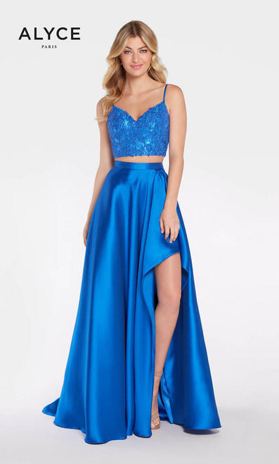 Alyce 1297,A sweetheart neckline with straps and a sneaky cute slit on the side of the skirt is an effortless flattering ensemble from Alyce Paris 1297- shop prom-avenue  Available in Red, Royal