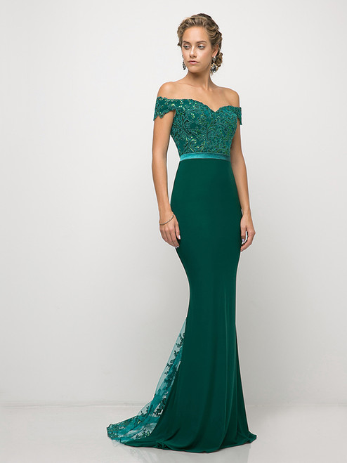 Off the shoulder dress with fitted bodice