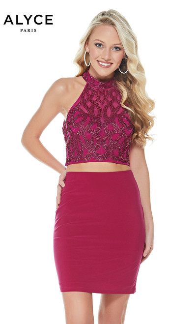 Perfect two piece homecoming dress by Alyce Paris 1370 with halter neckline embellished body and a matching skirt- shop prom-avenue   Available in Raspberry, Forest, Royal
