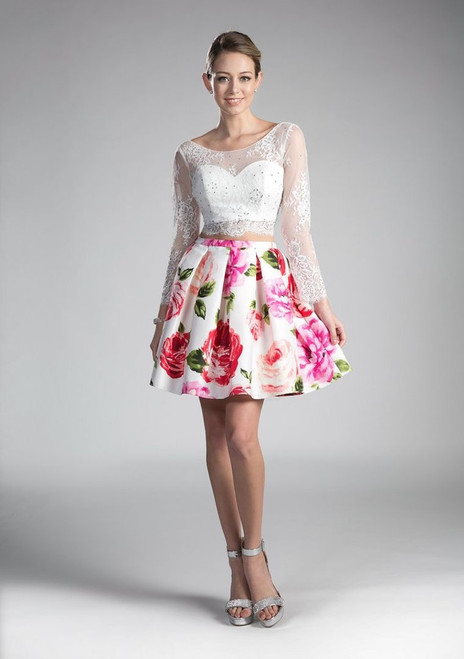 Cinderella Designing style CD701S TOP2,Two piece dress in lace top and floral print skirt with open back and long sleeves that is fun, flirty and ready to party - shop prom-avenue   Available in White and Floral Print as Shown