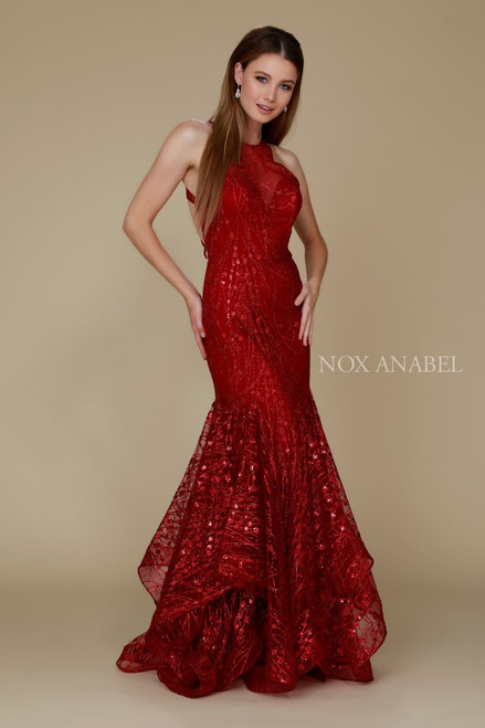 NX T153,NA T153,Red Sleeveless High Neckline Dress. Don't wow the crowd, WOWWww yourself with the perfect long special occasion dress in red or rose gold that is beautiful and elegant in style T153- shop prom-avenue   Available in Burgundy-Red, Rose Gold