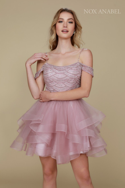 NX T668, NA T668,Elegant and fun homecoming dress by Nox Anabel style T668 that features and off the shoulder sleeves and ruffled layered skirt - shop prom-avenue   Available in Mauve, Wine, Green