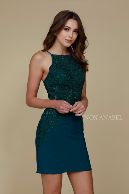 Sexy and stretch knit body con dress that is daring with high neckline and string tie lace up back in style NA A628 - shop prom-avenue   Available in Green, Black