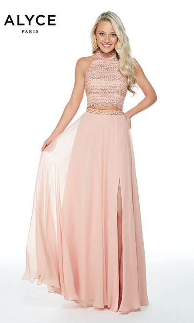 Alyce 60255,Fashion forward two piece chiffon and lace prom dress by Alyce Paris 60255 that features a flowy skirt and a high neckline crop top - shop prom-avenue   Available in Navy, French Pink