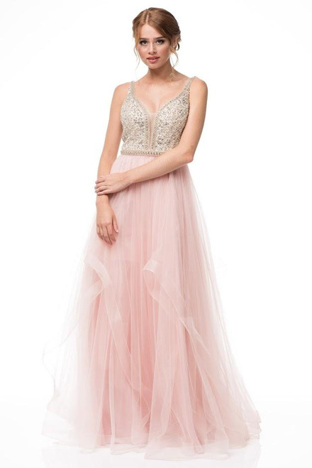 Go for a blush and flowy skirt dress with V neckline and nude embellished bodice with sequins and crystals in style AG RR6864 - shop prom-avenue  Available in Blush-Nude