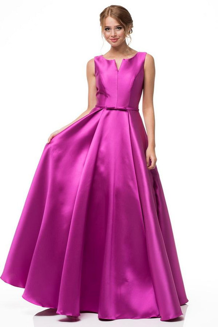 Sleeveless evening dress with long A-line skirt and a cute bow on the waistline in style AG AN11 - shop prom-avenue Available in Magenta