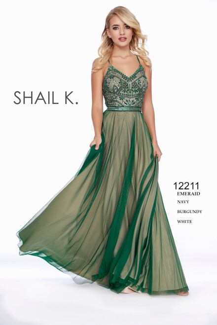 Love this sexy and gorgeous gown by Shail K in style 12211 , stunning beaded bodice in spaghetti straps and flowy skirt - perfect for your next special event or black tie gala- shop prom-avenue  Available in Emerald, Navy Burgundy