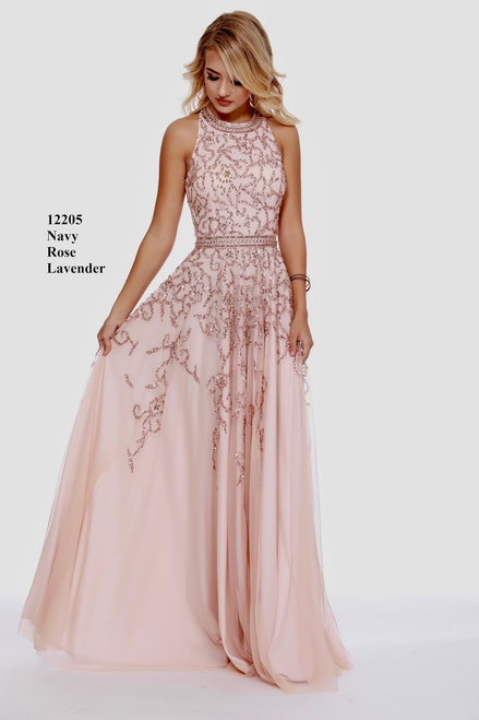 Be the life of the party with Shail K 12205 featuring a high neckline with a full flowy skirt in elegant fabric and embellished bodice - shop prom-avenue   Available in Navy, Rose and Lavender
