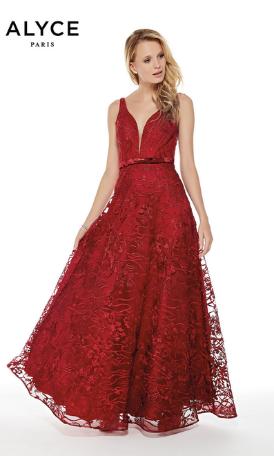 A-line prom gown with sophisticated lace and illusion V neckline with thin belt waistline and open scoop back in style Alyce 5028- shop porm-avenue   Available in Navy and Wine