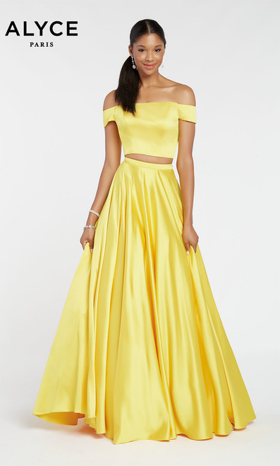 Sweet and sexy two piece satin ballgown by Alyce 1426 with A-line skirt and an off the shoulder crop top - shop prom-avenue  Available in White, Black, Claret, Yellow, Sapphire