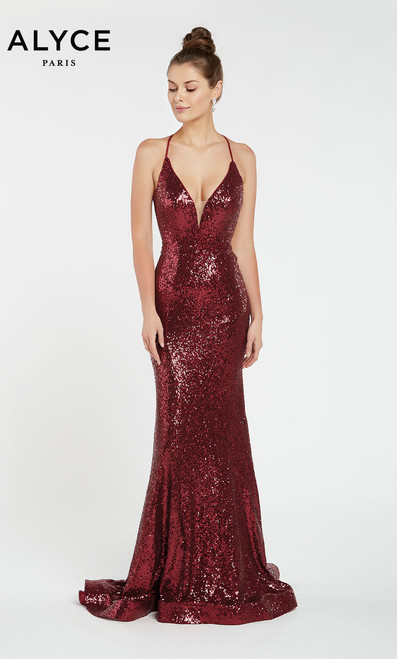 Alyce 1387, alyce paris 1387,Glam is in mind with style Alyce Paris 1387 featuring sexy straps and low V neckline and strappy criss cross open back in fit and flare silhouette- shop prom-avenue Available in Wine, Silver, Peacock, Rose Gold and Milky White