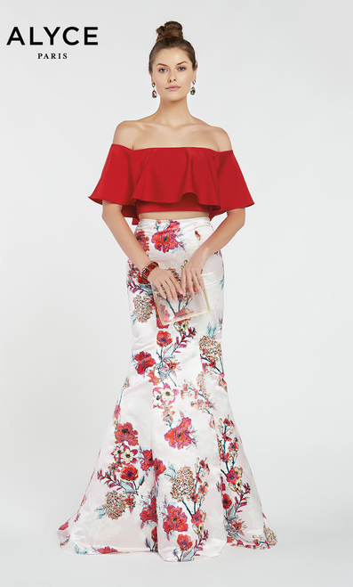 Alyce 60428,Floral multicolor print skirt in Alyce 60428 in two piece style with matching ruffled off the shoulder top - shop prom-avenue  Available in Red as Shown