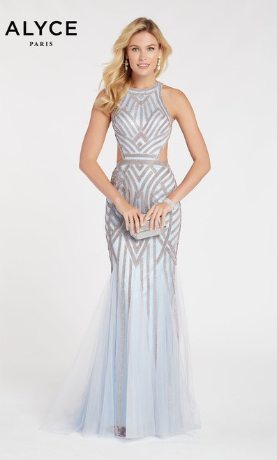 Skater neck top with tasteful side cut outs lend a contemporary feel to this classic beaded gown in style 60519.  Rhinestone strips of beading in a linear pattern sewn down to godets in the mermaid tulle skirt.- shop prom-avenue   Available in Icelandic Blue, Cobalt, Burgundy.
