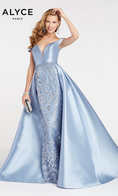 Off shoulder mikado top with lace mermaid skirt in style Alyce 60495, with detachable mikado overskirt to complete your jaw-dropping entrance.  - shop prom-avenue  Colors available: French Blue, Diamond White, Emerald.