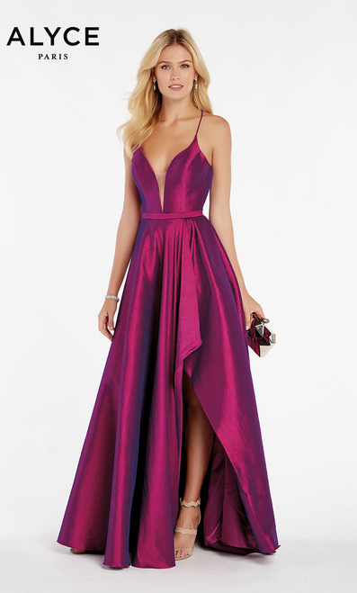 A low cut stretch taffeta style in style Alyce 60394 with Alyce's signature open front slit high low style and tie back for a comfortable, easy fit.  - shop prom-avenue   Available in Yellow, Olive Green, New Coral, Purple, Red, Black.