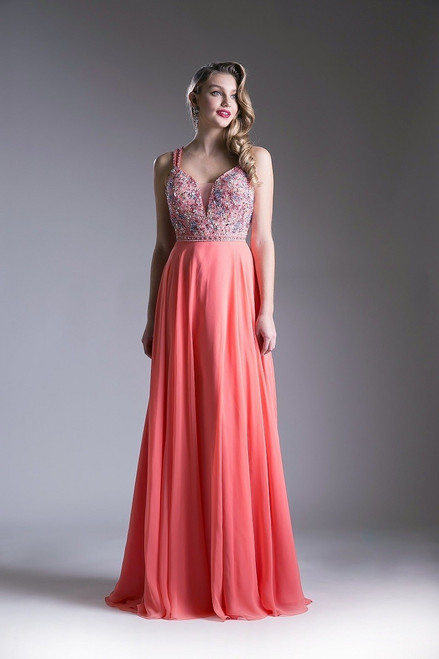 Make your special occasion or prom night an unforgettable event with this dark coral long and flowy prom dress in style CD CR775 with beaded bodice and delicate sexy straps - shop prom-avenue  Available in Dark Coral