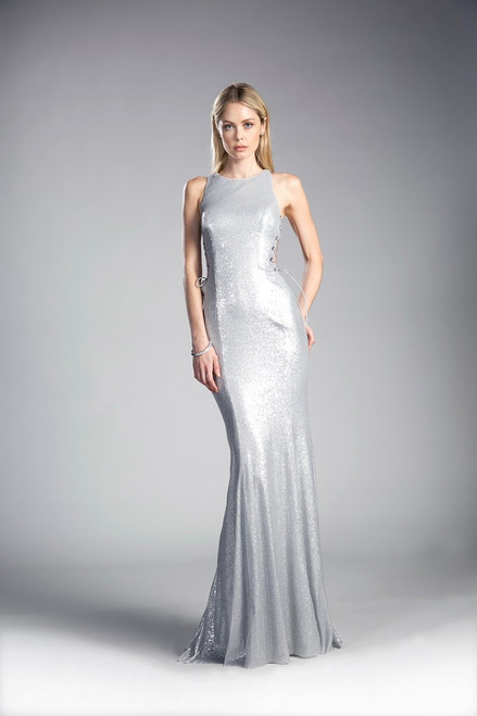So chic  and edgy in side lace up long gown in fitted gown by Cinderella Devine style  CD 84977 - shop prom-avenue  Available in Silver and Black