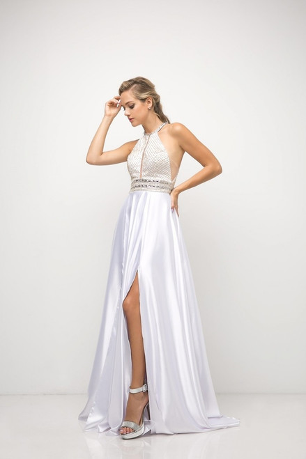 Sleek and sexy side slit on A-line skirt with beaded halter neckline bodice and illusion cut-out to the sides and front that gives this dress a sophisticated look in style For You UM076 - shop prom-avenue   Available in White