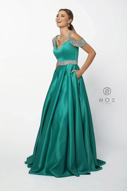 Wow , instant princess is waiting for you to strut with this beaded off the shoulder gown in satin material in style nox anabel R224- shop prom-avenue  Available in Light Blue, White, Yellow,Green