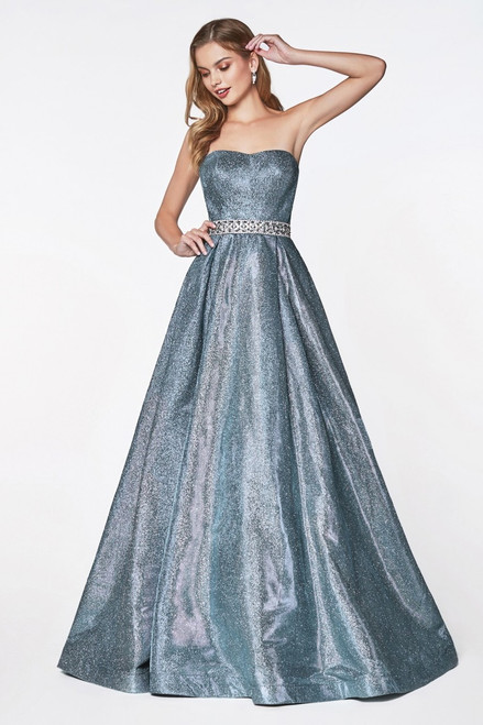 Beautiful and stunning strapless glitter blue A-line ballgown with beaded waistline and sweetheart neckline. This gown has pockets and zip up back closure - shop prom-avenue   Available in Blue as pictured