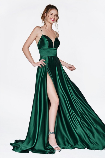 Elegant satin emerald green evening and prom gown with side slit and thin spaghetti straps in style CD CJ523- shop prom-avenue  Available in Emerald Green