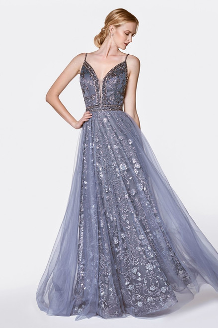 CD KC888,Adorable A-line glittered gown in style CD KC888 with plunging neckline and open back with in skirt - shop prom-avenue  Available in Gold, Midnight, Tea Rose
