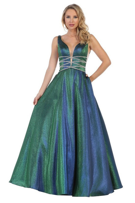 Beautiful A-line metallic green prom gown with V neckline and pockets in style LD 7403 - shop prom-avenue