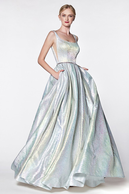 One of a kind metallic holographic floral ball gown with illusion sides and pockets in style KC880 - shop prom-avenue  Available in Metallic Blush and Rainbow