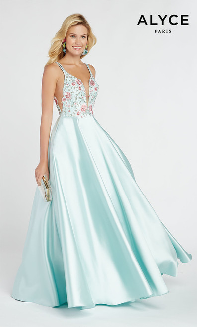 Dreamy and sweet embroidered floral bodice with dipped V neckline on Mikado A-line skirt by Alyce 60504 with illusion sides - shop prom-avenue   Available in mauve, Diamond White, Shell, Sea Glass