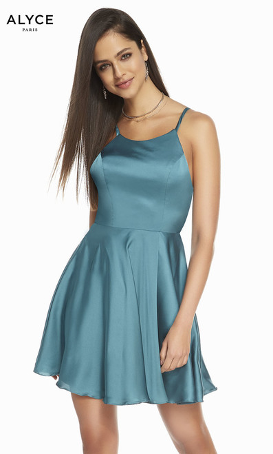 Short homecoming dress by Alyce 4118 in chiffon satin material with strappy back and A-line skirt - shop prom-avenue   Available in Midnight, Sea green, Wine