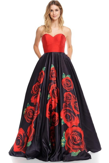 AG AN26 ,There is something so cute with floral black and red long dress in satin material. This dress has sweetheart neckline with lace up back and yesss- pockets - shop prom-avenue  Available in Black/Red Print