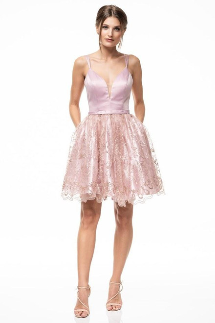 Cute and sweet, romantic cocktail dress in style AG MD19058S with V neckline and glittered tulle skirt with pockets - shop prom-avenue   Available in Mauve Pink